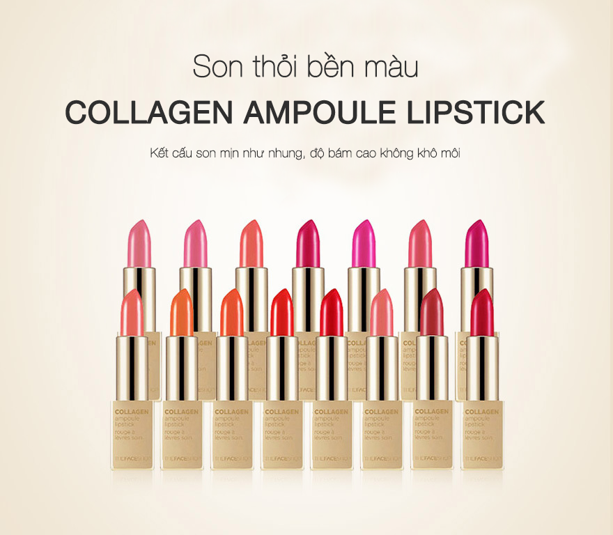 Son Thỏi Collagen Ampoule Lipstick The Face Shop #06 Pink Bella